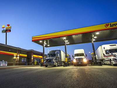 trucks fueling in diesel bays at Love's Travel Stop