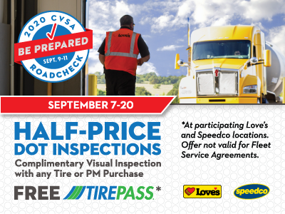 half priced DOT inspections and free TirePass at Love's for CVSA Roadcheck