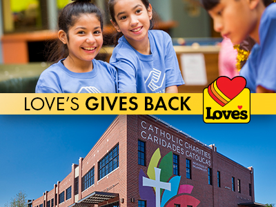 Love's Gives Back graphic with Boys & Girls Clubs of OK Country kids and exterior building of Catholic Charities