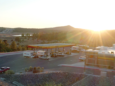 aerial photo of love's truck stop at sunrise