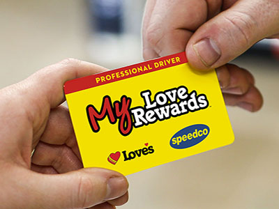 my love rewards card at loves travel stops counter