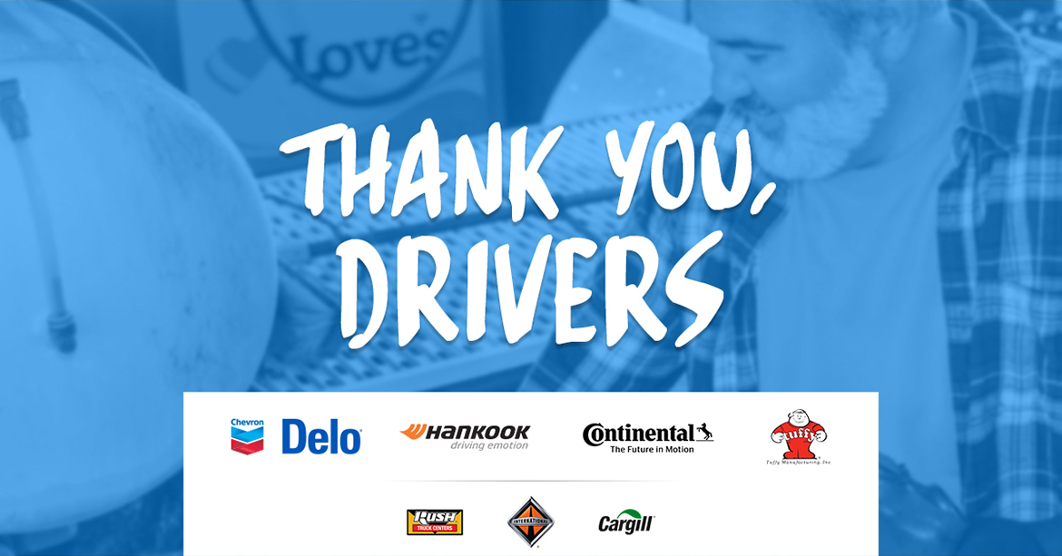 Thank you drivers graphic from Love's Travel Stops