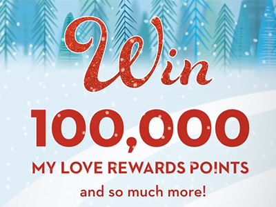 Love's 12 Days of Christmas Giveaway win 100,000 My Love Rewards points