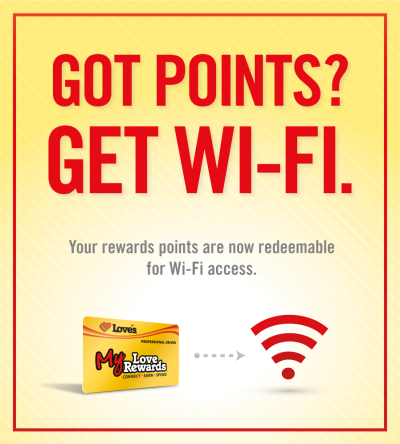 use My Love Rewards points for Wi-Fi