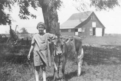 Child with cow