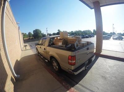 Truck loaded with school supplies