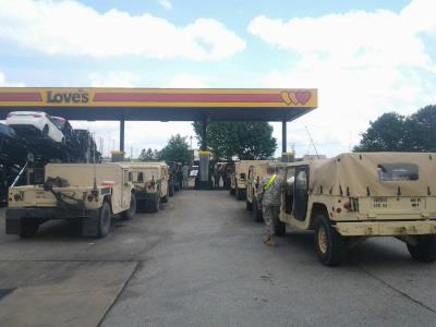 military convoy at Love's