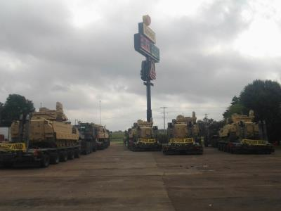 military trucks at Love's in mississippi
