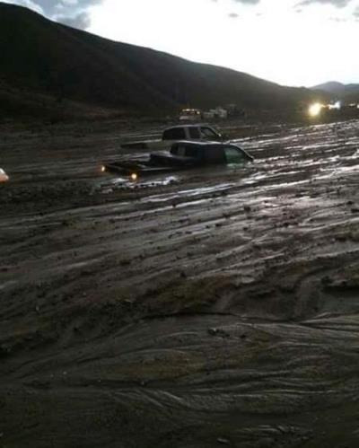 submerged cars in CA mudslide