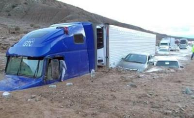 truck stuck inTehachapi mudslide 2015