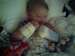 Brayden Simpson hospital after surgery