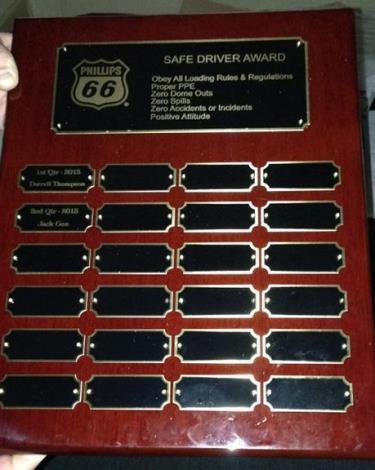 Gemini driver phillips 66 awards plaque