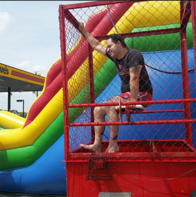 Love's GM in denton dunk tank for CMNH