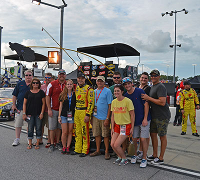 Gilliland with fans at Darlington