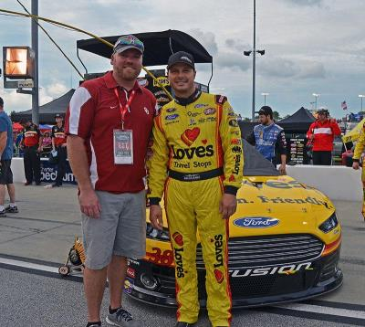 NASCAR fan with Gilly and 38 Love's Ford