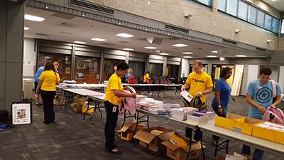 loves volunteers at back to school brigade