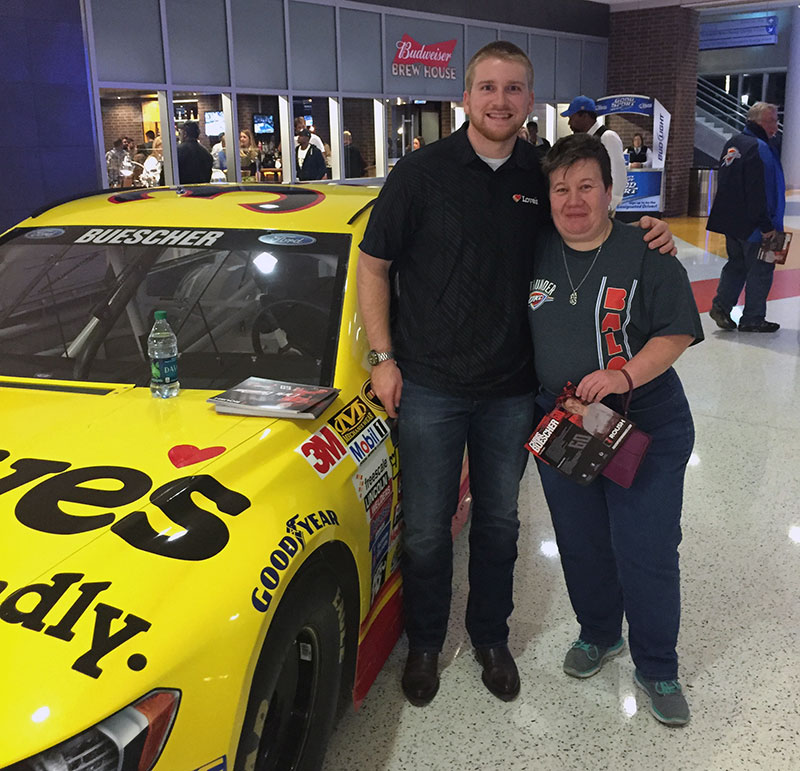 Chris Buescher makes appearance at Thunder game