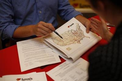 love's map of locations at career fair