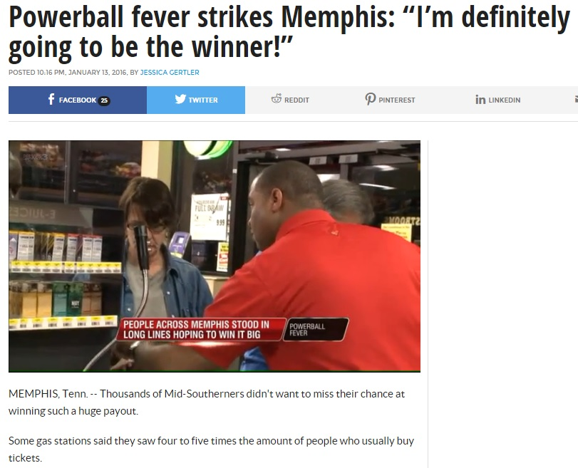 WREG Memphis news story Powerball