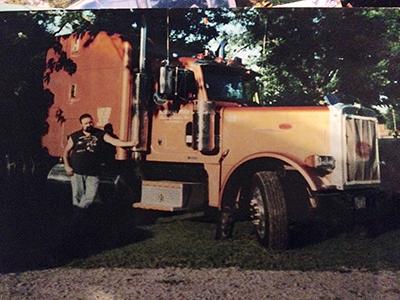 vintage peterbilt with trucker