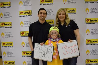 Love's corporate employees with CMN miracle child samantha