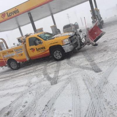 Love's service truck plows snow in Colorado