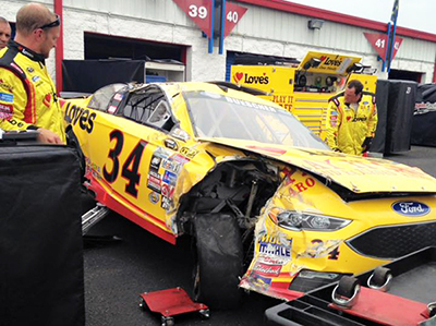 Buescher wrecked car at Talladega