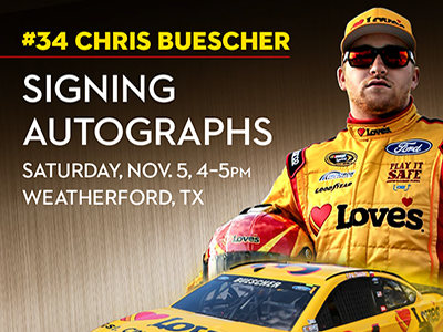 chris buescher meets fans at loves in texas