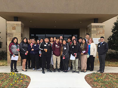 junior achievement students at Love's corporate office