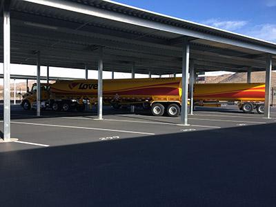 Love's tanker truck Las Vegas RV and boat storage