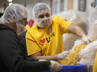 loves employees volunteer at food bank