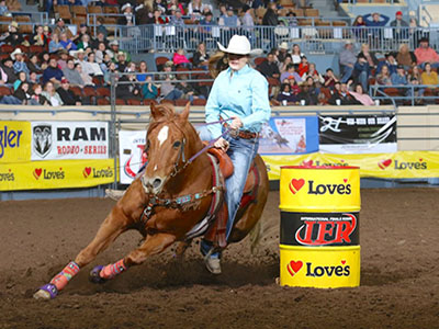 barrel racing in OKC at international finals rodeo