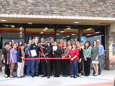 ribbon cutting for loves travel stop angleton