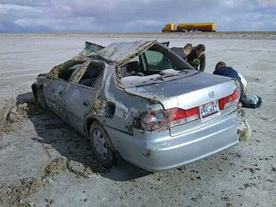 roll over crash in salt flats nevada
