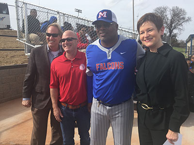 Joe Carter and Jenny Love Meyer at baseball field dedication