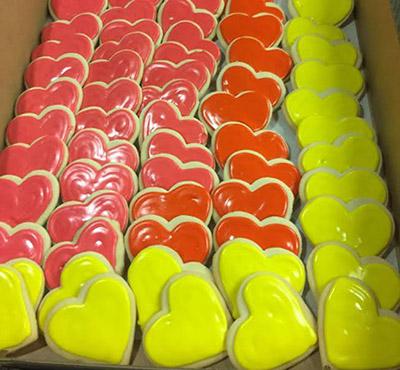heart-shaped cookies for Love's groundbreaking