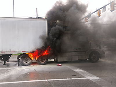 truck tire fire in pennsylvania