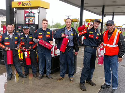 loves truck tire care crew extinguishes fire