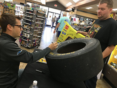 landon cassill signs tire