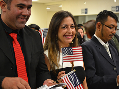 Woman being sworn in as US citizen