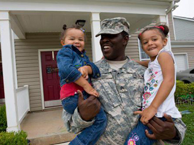 military dad with two young daughters