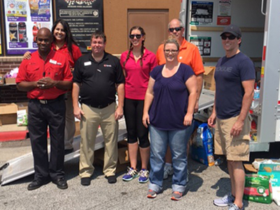 love's trillium team help with saferack donation for harvey