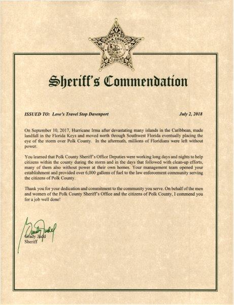 Love's 627 Commendation Award