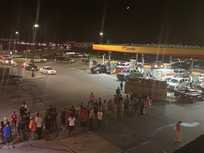 line outside loves travel stop after hurricane michael