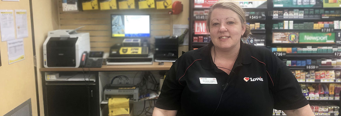 loves truck stop manager behind diesel counter