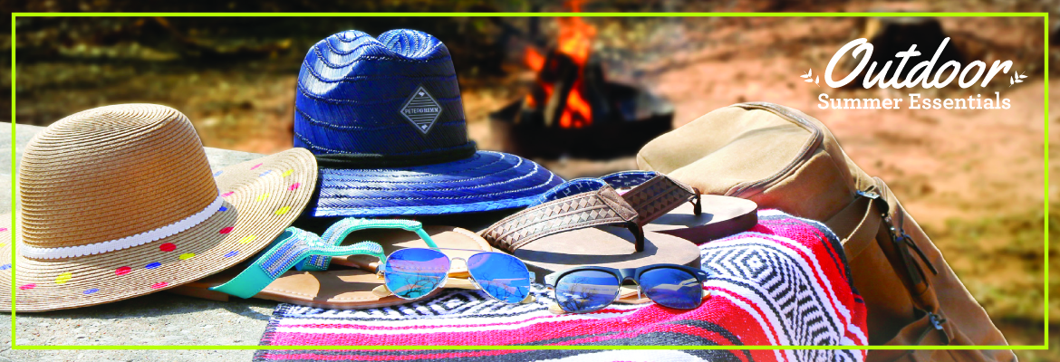 Campfire with summer hats, blanket and sunglasses - all items available at Love's Travel Stop
