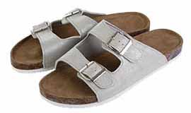 Stop in at Love's to buy tan sandals with grey straps for spring