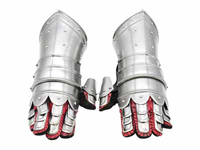 Silver and red medieval warrior gloves