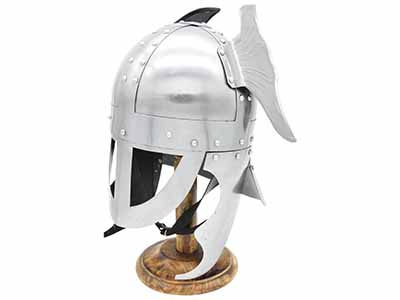 silver winged viking helmet