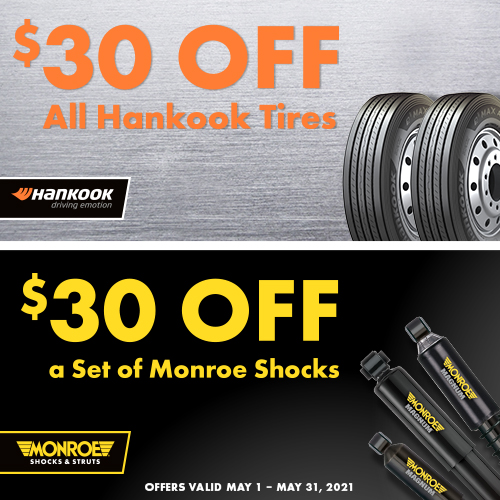 A special $30 off all Hankook tires and set of Monroe shocks